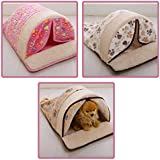 CreaTion® Cute Warm Soft Fleece Pet Kennel Bed With Curtain Sleeping Bag Design With Paw Print For Small Cats And Dogs (brown)
