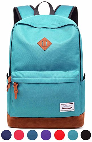 School College Backpack Bookbag Laptop Rucksack Travel Bag Casual Daypack with USB Charging Port Fits 15.6 Inch Laptop (LightSeaGreen)