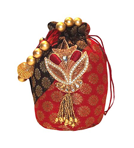 Brocade Potli Borsa Multicolore (Red / Brown)