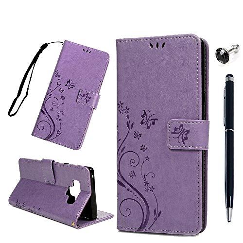 Note9 Handyhülle Samsung Galaxy Note 9 Hülle Case Leder Tasche Flip Cover Schmetterling Prägung Schutzhülle Silikon Handytasche Skin Ständer Klappbar Schale Bumper Magnetverschluss Brieftasche-Lila
