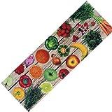 Teppich-Läufer Waschbar Rutschfest | Design Obst Gemüse Modern Bunt 50x150 | Sauberlaufzone für Küche Flur | Schmutzfangmatte als Dekoartikel Küchendeko Küchenteppich Geschenk für Hobbykoch
