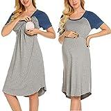 MAXMODA Damen Umstands-Nachthemd mit Stillfunktion Still-nachtwäsche
