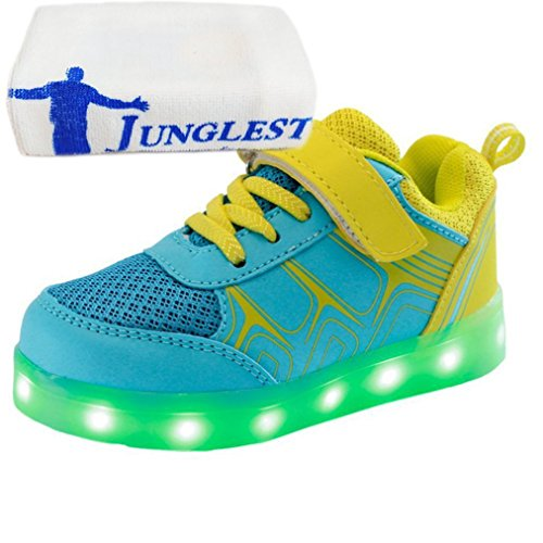 (Présents:petite serviette)JUNGLEST® iiSport-Nouvelle 2016 printemps Sneaker argent pour bébé et petit enfant 7 Couleurs chargement USB LED Light chaus initial
