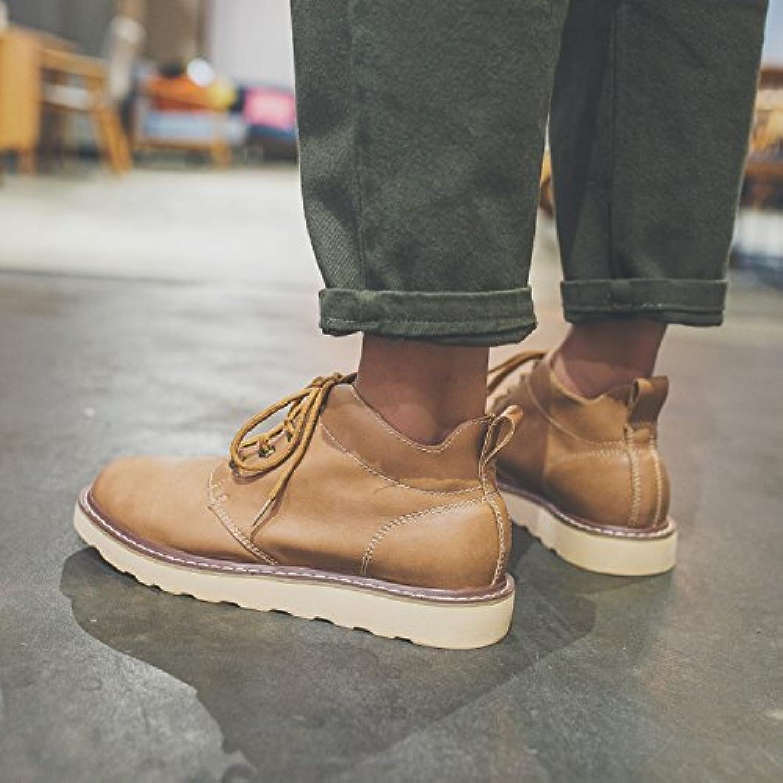 HL-PYL-British Uomini Casuale Scarpe ad alto spessore scarpe con suole di scarpe di cuoio Martin.,39,kaki | Attraente e durevole  | Scolaro/Ragazze Scarpa