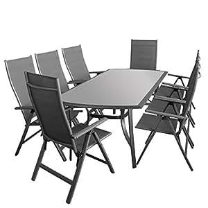 - 9 Ensemble table avec plateau en verre satiné 180 x 95 cm - 8 x fauteuil à dossier haut avec 6 positions dossier haut de gamme 4 x 4-ensemble salon de jardin