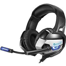 VersionTech Gaming Headset PS4 Kopfhörer für PS4 Xbox One Controller, Stereo Noise Isolation Over-Ear-Headset mit Mikrofon Lautstärkeregler LED-Licht und Bass Surround für Laptop-Mac Nintendo PC, Schwarz