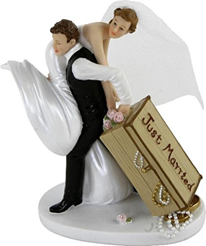 "Decoración Tarta boda, Pareja con maletín ""Just Married, 13 cm"