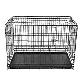 Blackpoolal Faltbar Metall Käfig Hundekäfig Hundebox Drahtkäfig Transportkäfig hundetransportbox Hund Katze 2 Türen Transportbox Kennel (107,5 x 64 x74cm)