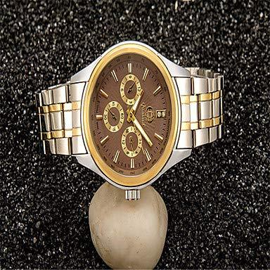 XKC-watches Herrenuhren, Damen Uhr Modeuhr Quartz Legierung Silber/Gold Analog Freizeit Schwarz Gelb Kaffee (Farbe : Gelb)