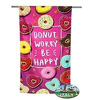 """Telo mare in spugna di cotone 100% misura grande cm.80x160.Stampato in digitale con delle dolcissime ciambelle donuts ...un disegno davvero """" trendy """" !Compresa nella confezione l'originale CALAMITA CAVATAPPI ITALY, comoda e pratica per la tu..."""