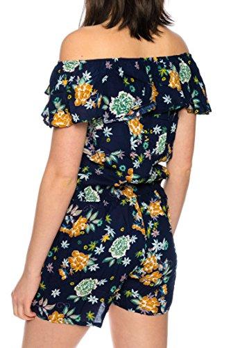 Dress Sheek Damen Jumpsuit Playsuit Sommer Luftig Blumen Gemustert Overall Kurz Schulterfrei Ärmel R270 - Orange