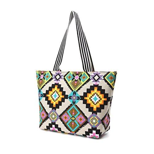 Transer Women Shoulder Bag Popular Girls Hand Bag Ladies Canvas Handbag, Borsa a spalla donna 44cm(L)*30(H)*13cm(W), Multicolor (multicolore) - ZHY60901983 Multicolor