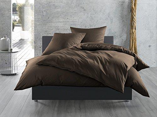 Mako-Satin Baumwollsatin Bettwäsche uni einfarbig zum Kombinieren (Bettbezug 200 cm x 200 cm, Dunkelbraun)
