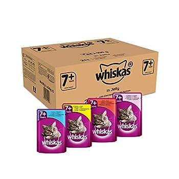 Whiskas 7+ Sachets Fraîcheur pour Chat Senior (Stérilisé Ou Non), 4 Saveurs en Gelée, 84 Sachets de 100g