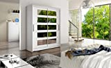 Brand New Modern Wardrobe Bedroom Mirrors 2 Sliding Door Wardrobe Barbarossa V Width 150cm (White)