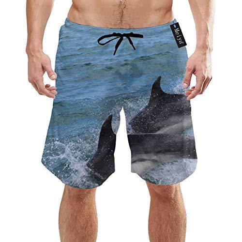 Sotyi-ltd Herren Badehose Delfine, Fische, Wasserspritzer, 3D-Grafik, schnelltrocknend, lustige Strand-Shorts mit Netzfutter Gr. XL, weiß