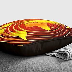 Big Box Art «carbón con Mapa del Mundo 5» cojín Manta Almohada, Multicolor, 43x 43cm