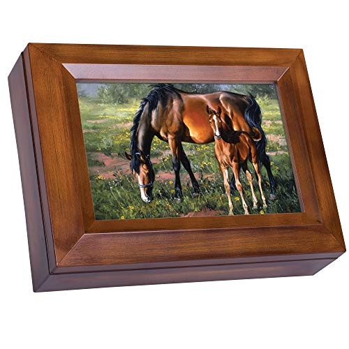 Pferd und Colt Grasende Jack Sorenson Holzmaserung Digital Andenken Musik Box spielt My Wish (Box Jack)