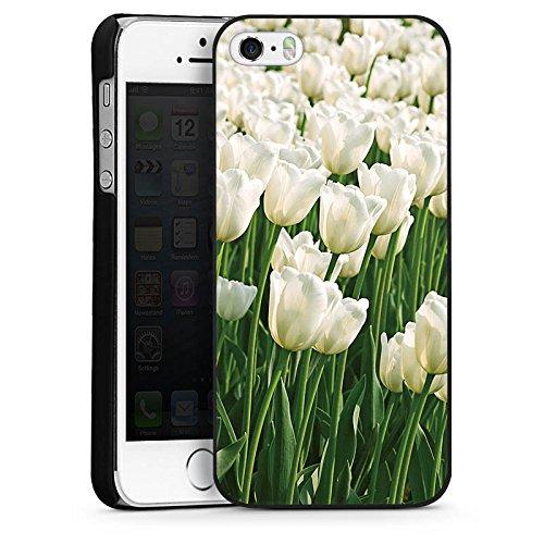 Apple iPhone 5s Housse Étui Protection Coque Tulipes Fleurs Fleurs CasDur noir