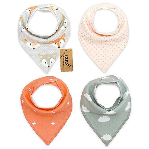 iZiv 4er Set Baby Bandana Geifer Lätzchen mit Justierbarem Druckknöpfen, Wasserdichte TPU Auskleidung für 0-2 Jahre (Farbe-4)
