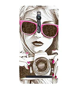 Vizagbeats Girl with camera drawing Back Case Cover for Asus Zenfone 2::Asus Znfone 2 ZE550ML