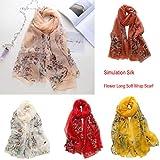 Bearbelly  Mode Elegantes Frauen Lotus Drucken Herbst Winter Lange Weiche Wrap Schal Damen Schal Chiffon Schals, 180 x 140 cm -