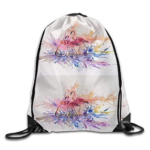 Sporttasche mit Kordelzug, Sportrucksack, Reiserucksack, Tropical Watercolor Flamingos Print Drawstring Backpack Rucksack Shoulder Bags Sport Gym Bag for Men and Women -