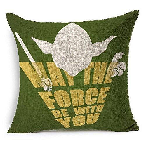 HT&PJ Dekorativ Baumwolle Leinen Mischung Sofa Kissenbezug Star Wars Master Yoda Muster 45cmx45cm