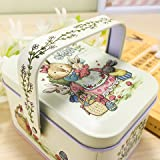 #5: Akruti M, Blueee dress : Vivid Peter Rabbit Tote Tin Box Jewelry Box Storage Organizer Case Iron Box Candy Box 10.5X6.2X7.8 cm