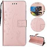 Sycode Hülle für iPhone 6S Plus,Schutzhülle für iPhone 6S Plus,Floral Schmetterling Blume Finger Lederhülle Hülle für iPhone 6S Plus/6 Plus (5.5 Zoll)-Rose Gold