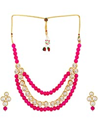 Shining Diva Jewelry Pink Kundan Fancy Party Wear Necklace For Women Traditional Jewellery Set With Earrings For...