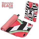 BEARFOOT Microfaser Badehandtuch, Strandtuch, Sporthandtuch, Reisehandtuch für Reisen, Fitness, Yoga, Sauna, Strand, saugfähig, leicht und schnelltrocknend (Wassermelone 200x90)