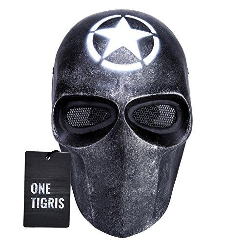 OneTigris Taktische Vollschutzmaske Softair Maske Cosplay Karneval Maske Airsoft BB gun CS Kampf Maske (Weiß (Kostüme 20 Sterne Halloween)
