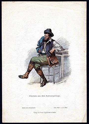 Grafik Ciociare aus dem Sabinergebirge - Abruzzen Italien Italy Tracht Trachten costumes graphic