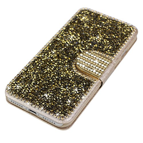 Schutzhülle iPhone 7 Leder, Book Style Hülle für iPhone 7 Bling Glitzer, iPhone 7 Bumper Hülle, [Voll frontal Dreieck Diamant Design] Moon mood® Glitter Case Skin Tasche Ledertasche für Apple iPhone 7 Golden