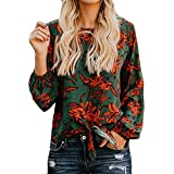 40%-60% Off!Ieason Women Casual Top O-Neck Flower Print Fashion T Shirt Ladies Long Sleeve Blouse
