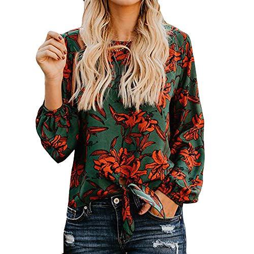 Damen Langarm Bluse, FGYH Damen V-Ausschnitt Baumwolle Longsleeve Plus Size Tank Karriere Bluse T Shirt(XL, Grün) (Kurzarm-kleid Karriere Frau)