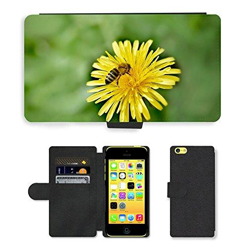 Just Mobile pour Hot Style Téléphone portable étui portefeuille en cuir PU avec fente pour carte//m00138382pissenlit Fleur Jaune Abeille/insectes/Apple iPhone 5C