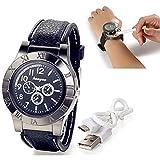Weihnachten Geschenk Männer Armbanduhr Neuheit Digital USB Zigarettenanzünder Herren Uhren mit 3 Zifferblätter Winddicht Flame Feuerzeug