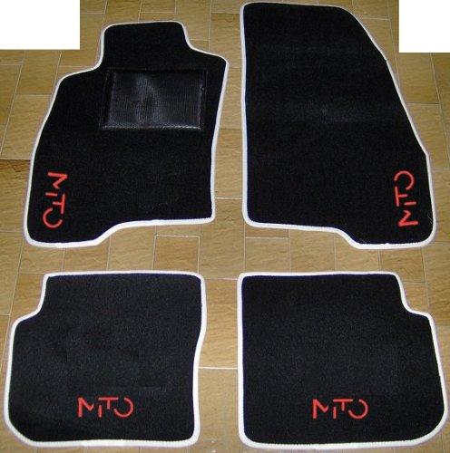 Tappeti per Auto Neri con Bordo Bianco, set completo di Tappetini in Moquette su Misura con Ricamo a Filo Rosso