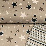 Wellness Fleece Doubleface Sterne Tupfen & Streifen beige Kinderstoffe - Preis Gilt für 0,5 Meter