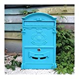 Europäischen klassischen Villa Mailbox Pastoral Retro Wand Briefkasten Wasserdicht Outdoor Mailbox mit Schloss Barock Sun blau