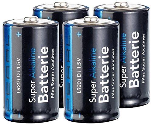 PEARL Große Batterien: Sparpack Alkaline Batterien Mono 1,5V Typ D im 4er-Pack (1,5V Große Batterien)