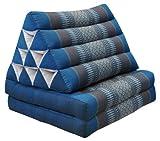 Cuscino triangolo Thai con piccolo materasso 2 pieghe, fabbricato in Thailandia, blu/grigio (82602)