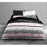 Today HC4algodón 57hilos Enjoy Boudoir Funda Nórdica de 240x 260cm + 2fundas de almohada 63x 63cm algodón negro