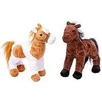 """Pferde """"Penny und Molly"""", Kuscheltiere im 2er Set, kuschelweiche und niedliche Begleiter aus Plüsch, mit den niedlichen Stoffpferdchen sind spannende Abenteuer und schöne Schmusestunden garantiert"""