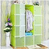 Lukzer 12 Door Plastic Sheet Portable Cube Wardrobe Storage Rack Organizer Closet for Clothes Toys Shoes Bedroom…