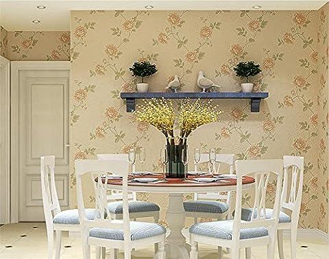Fond d'écran plus épais Style pastoral Papier autocollant 3D Stéréo PVC étanche Living Room Restaurant TV Wall Fond d'écran de chambre à coucher -53 cm (W) * 2,5 m (L) , cream color