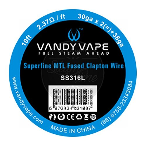 Vandy Vape, filo Clapton Wire di tipo Superfine MTL Fused per sigarette elettroniche, SS316L, 30 AWG x 2 + 38 AWG,3metri