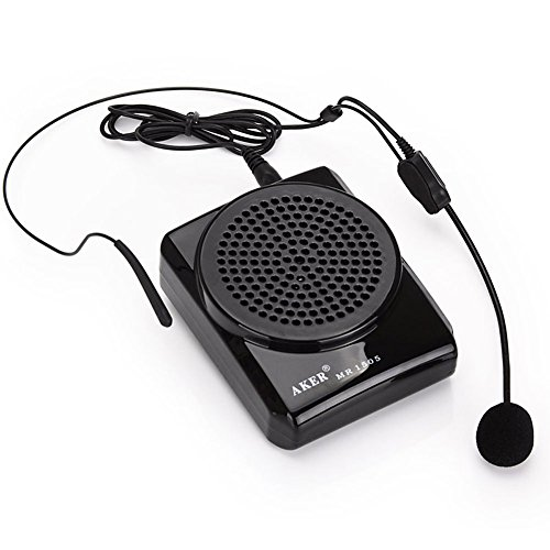 Aker MR1505 12 watts Portable Voice Amplifier for Teachers, Coaches, Black (105 T Batterie)